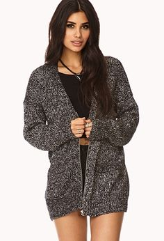 Menswear-Inspired Marled Cardigan | FOREVER21 - 2000128737