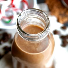 Dairy Free Peppermint Mocha Coffee Creamer Recipe Beverages with dates, hot water, coconut milk, unsweetened vanilla almond milk, peppermint extract, unsweetened cocoa powder