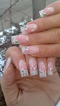Nail Art - French tip, white, wedding, elegant
