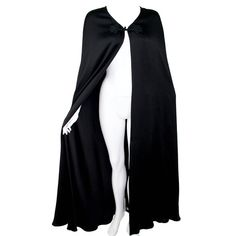Valentino Haute Couture Vintage Black Silk Satin Cape | 1stdibs.com