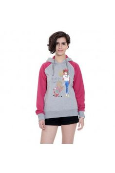 Uhh la la! This winter season, protect yourself from chilly winds wearing this grey and pink coloured women'ss sweatshirt #womensfashion #sweatshirtforwomen