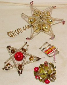 Vtg Antique Glass Bead Wire Wrapped Holiday Christmas Ornament Star Topper Set 4 | eBay