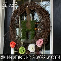 spring grapevine and moss wreath