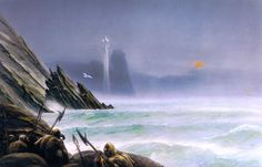 White Tower of Elwing - John Howe. She afterwards dwelt in a white tower on the edge of Belegaer, the Great Sea, between the land of the Teleri and the region known as Araman, and there she dwells still, the patroness of all sea-birds and bride of the Evening Star (Eärendil).