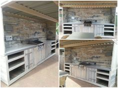 Outdoor kitchen and wall made of recycled wooden pallets.