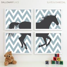 Zig Zag Chevron Horse Nursery Art Print, Farm Animal Kids Decor, Pony Baby Nursery Wall Art Playroom Kids Art For Nursery Decor - Four 11x14