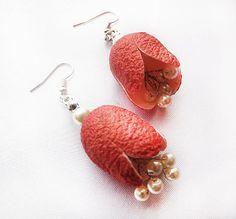 Red  Cocoon Earrings eco friendly Jewels  Silk by aynurdereli, $17.00 # Cocoon #Earrings