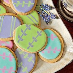 Easter-Egg Shortbread Cookies | Because a large batch of the dough is tricky to work with, we don't recommend doubling this recipe. | SouthernLiving.com