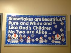 Mrs. B's Winter Bulletin Board -- Each snowflake has a picture of child's face ❤️