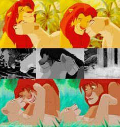 simba and nala - notice, girls, that she kissed HIM first...sometimes the guys need a little push haha!
