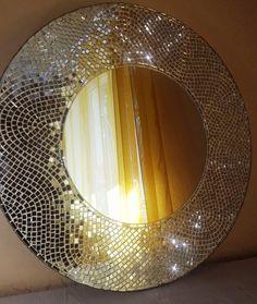 Large round mirror Decorative mirror wall hanging/ Mosaic wall mirror/ Made to order Mirror Mosaic, Mirror Wall Art, Mosaic Wall Art, Mosaic Glass, Stained Glass, Large Round Mirror, Round Mirrors, Mosaic Furniture, Deco Furniture