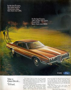Ford LTD. Research Magazine Advertisements. The Best Resource on the Net of Vintage Ads! Ford LTD Landau Full-Size. Ford Ltd, Ford Lincoln Mercury, Ford Galaxie, Car Advertising, Sweet Cars, Us Cars, Car Ford, Ford Motor Company, Classic Cars