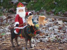 RESERVED Needle Felted Moose and Santa Claus - Needle Felted Wool Father Christmas And Animal Soft Sculpture