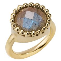 Portobello Labradorite Gold Cocktail Ring by Sharon Mills London ($130) ❤ liked on Polyvore featuring jewelry, rings, yellow, gold jewelry, gold beaded jewelry, yellow cocktail ring, yellow gold jewelry and beading jewelry