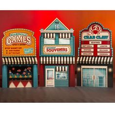 Our Vintage Boardwalk Building Set will make guests feel as if they've taken a leisurely stroll down the boardwalk. Creepy Carnival, Carnival Themes, Party Themes, Boardwalk Theme, Life Size Games, 8th Grade Dance, Game Props, Party Central, Prop Making