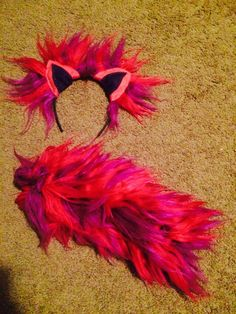 Cheshire Cat ears and tail made with yarn and felt
