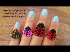 Beaded Ladybug and Scarab Ring Tutorial- can find beaded and more on our website.Beaded Ladybug and Scarab Ring Tutorial- Seed Bead Tutorials, Jewelry Making Tutorials, Beading Tutorials, Anel Tutorial, Bracelet Tutorial, Beaded Jewelry Patterns, Beading Patterns, Lace Bracelet, Seed Bead Jewelry