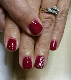 silver in red nails