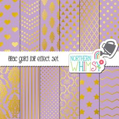 Lavender Purple and Gold Digital Paper Pack – gold foil effect papers for scrapbooking, invitations, cards, etc – instant download – CU OK #digiscrap #commercialuse #goldfoil #lilacpurple #digitalpaper
