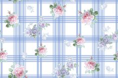 """Ostersund Tartan Summer Floral"" for fabric or wallpaper, by lilyoake on Spoonflower - print on demand decorating"