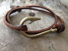 Leather Wrap Fish Hook Bracelet- only $10!! And handmade!