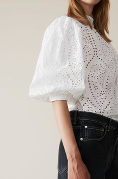 Broderie Anglaise Blouse, Bright White - Just DIY Robes Western, Western Dresses, Mode Kimono, Lace Top Dress, Outfits Damen, African Inspired Fashion, Kitenge, Sweet Dress, Lace Tops