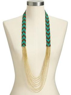 Women's Chevron-Beaded Multi-Chain Necklaces | Old Navy