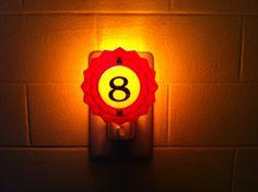 Woodrail Pinball no 8 pop bumper Night Light by wirenot on Etsy, $15.00