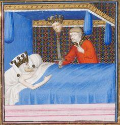 Genève, Bibliothèque de Genève, Ms. fr. 190/2, f. 89r (one of Otho's men with Galba's head on a pike).  Boccaccio, Des cas des nobles hommes et femmes. Paris, c. 1410.