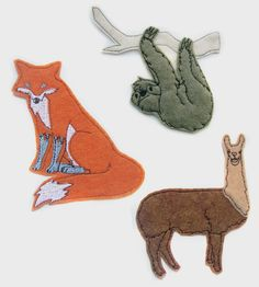 Animal Iron-On Patch Trio | The whole animal kingdom is here, well a sloth, a llama and a ... | Apparel & Accessories