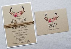 Rustic Wedding Invitation Floral Wedding by LoveofCreating on Etsy
