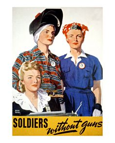 This poster from World War II is saying that women and other people who aren't fighting are still a very big part of the war.