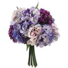Hydrangea Wedding Silk Bouquet in Purple Lavender - 11in. Tall