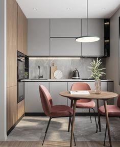 Kitchen Room Design, Modern Kitchen Design, Living Room Kitchen, Home Decor Kitchen, Interior Design Kitchen, Kitchen Furniture, Home Kitchens, Small Modern Kitchens, Furniture Design