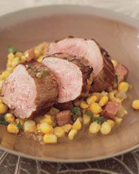 Glazed Pork Tenderloin with Cumin-Spiked Corn Puree Recipe