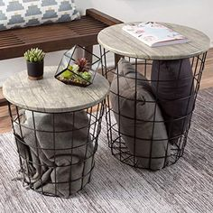 Lavish Home Nesting End Tables with Storage - Grey