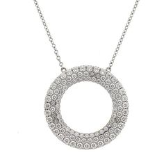 Preowned Tiffany & Co. 18 Karat Gold Metro Three-row Diamond Circle... ($3,895) ❤ liked on Polyvore featuring jewelry, necklaces, multiple, pendant necklaces, 18k necklace, circle pendant necklace, diamond necklace pendant, chain pendant necklace and circle necklace