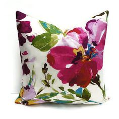 Floral Pillow Cover Decorative Pillow Watercolor by TessutoDesigns