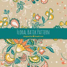 Patrón floral batik dibujado a mano  Vector Gratis