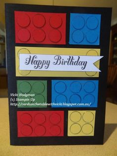 Cards on the table with Vicki: Lego Card- could be made into birthday invitation