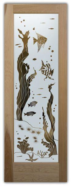 A 01 aqua fish neg door Etched Glass Door, Frosted Glass Door, My Glass, Glass Art, Door Glass Inserts, Entry Doors With Glass, Glass Doors, Steel Gate Design, Sandblasted Glass