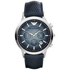 Buy Emporio Armani Men's Chronograph Degrade Dial Leather Strap Watch, Blue from our Men's Watches range at John Lewis. Emporio Armani, Armani Watches, Luxury Watches, Gents Watches, Watches For Men, Cheap Watches, Daniel Wellington, Color Azul, Watch Brands