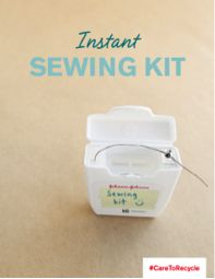Thinking of tossing that empty floss container in the trash? Upcycle by using it as a pocket-sized emergency sewing kit instead! Find out how at caretorecycle.com! #CARETORECYCLE