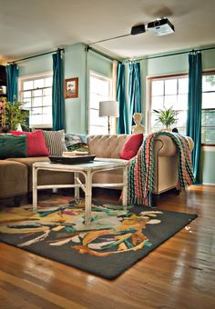 living_space; That's my rug! I love the curtain colors....good to know.