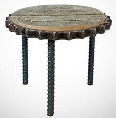 Tractor Gear Three Legged Table Item 013 by TestaBuilTGreenArt