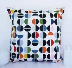Abstract multicolour cushion retro circles pillow modern cushions - by HenriettaAndMorty on madeit