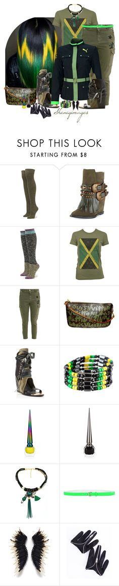 """""""Jamaica Chic by Sheniq"""" by sheniq ❤ liked on Polyvore featuring Ivy Kirzhner, Louis Vuitton, Puma, Christian Louboutin, Privé, Dsquared2 and Mignonne Gavigan"""