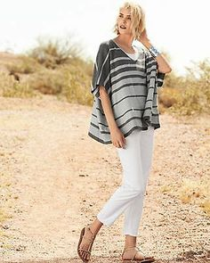 NWT Eileen Fisher S M L Variegated Striped V Neck Boxy Top Sweater Dk Ash $258