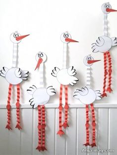 Bird Crafts, Decor Crafts, Diy And Crafts, Arts And Crafts, Art Lessons For Kids, Projects For Kids, Kindergarten Art Projects, Bird Party, Animal Crafts For Kids