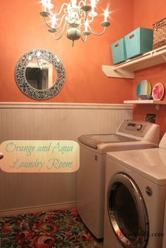 Pretty Orange and Aqua Laundry Room Makeover - Are you brave enough to have an orange laundry room??? Don't know if I am but it sure is pretty.